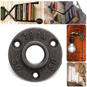 """Image 3 - Acessórios de tubulação de ferro fundido, decorativo preto com 10 peças, piso/parede, flange, de ferro fundido, bsp, 1/2 """"/3/4"""" buraco rosqueado"""