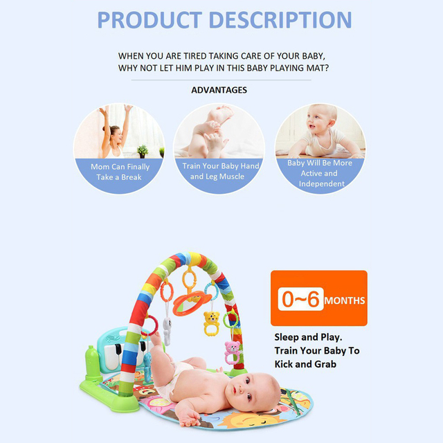 Baby Play Mat Kids Rug Educational Puzzle Carpet With Piano Keyboard And Cute Animal Playmat Baby Gym Crawling Activity Mat Toys 5