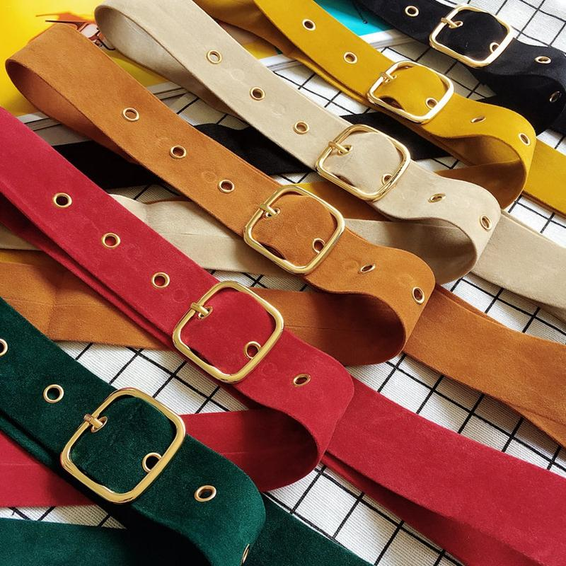 Retro Velvet Women Belt For Jeans Dress Fashion Square Buckle Belt High Quality Solid Color Simple Female Slim Decoration Belt