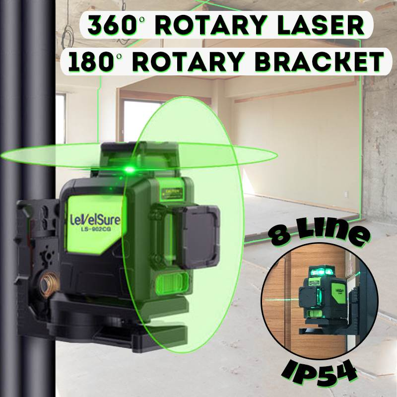 8 Lines Green Cross Line Laser Level 510nm 3D 360 Degree Rotation Auto Leveling Horizontal Vertical