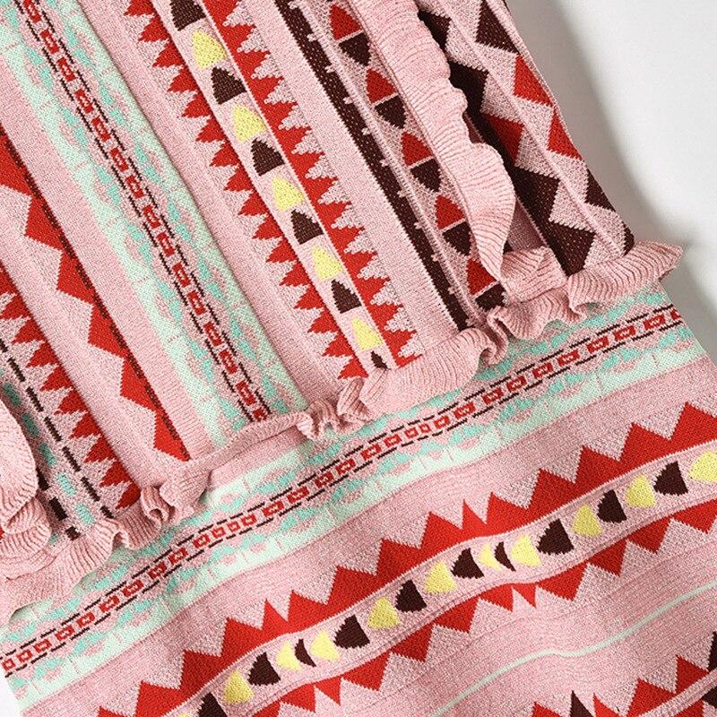 Pictures Coloré Manches As Nouveauté Slim Ruches Géométrique Motif Sans Tricoté Robe Pour 2019 Femmes OrOw1q