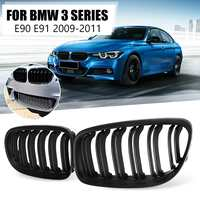 1 Pair Matt Black 2 Double Line Slat Front Kidney Grill Racing Grill Replacement for BMW 3 Series E90 E91 2009 2010 2011
