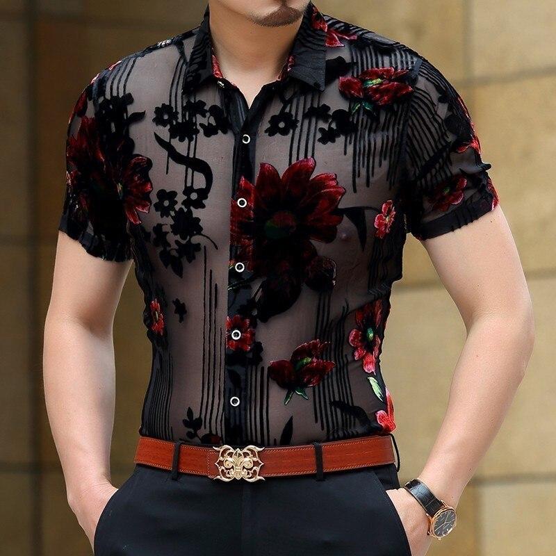 Мужская Клубная рубашка с коротким рукавом, прозрачная бархатная рубашка с цветочным принтом и кружевом, новинка 2019