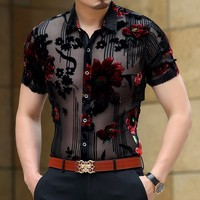 Men Club Party 2019 New DJ Prom Shirt Short Sleeve Chemise Homme Transparent Flower Velvet Shirt Men See Through Lace Shirt