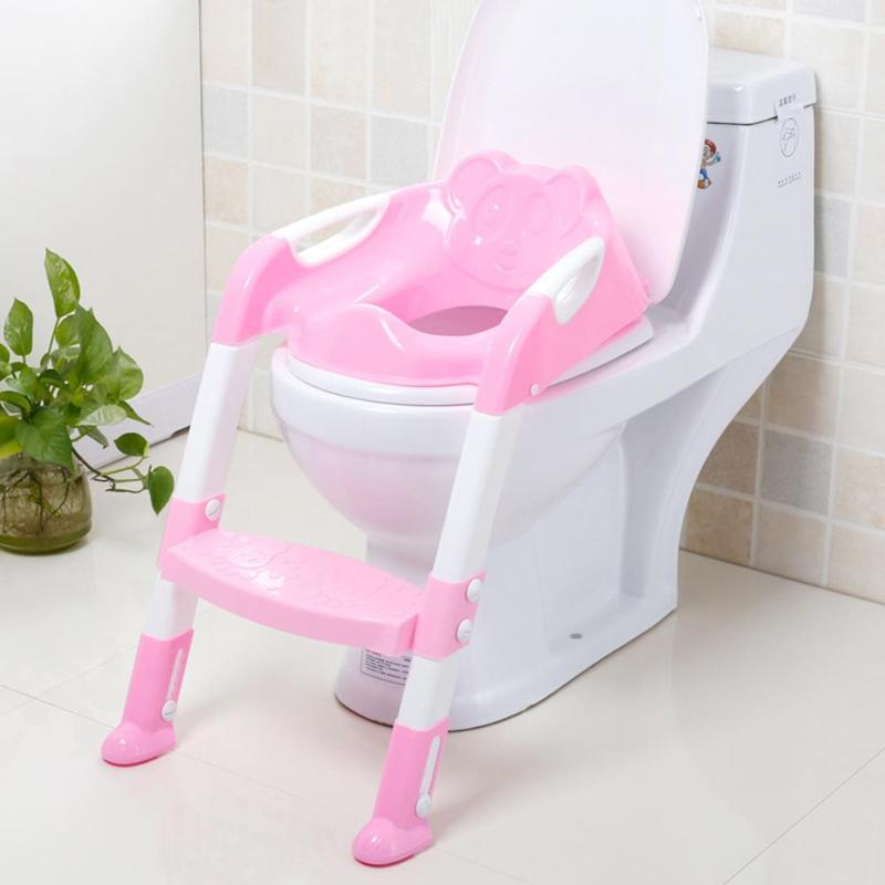 New Folding Baby Potty Training Seat With Adjustable Ladder Infant Toilet Seat For Kids Adjustable Ladder Children's Toilet