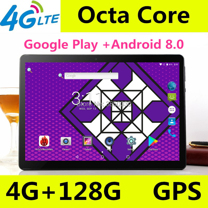 Date 10 pouces Android 8.0 tablette pc 8 core 4 GB RAM 128 GB ROM IPS double carte SIM wifi Bluetooth tablettes intelligentes 10 10.1