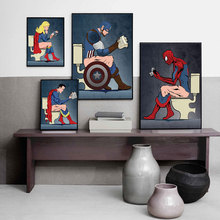 Humor Superhero on The Toilet Wall Art Print Cartoon Canvas Poster Minimalist Painting for Bathroom Decoration Picture No Frame