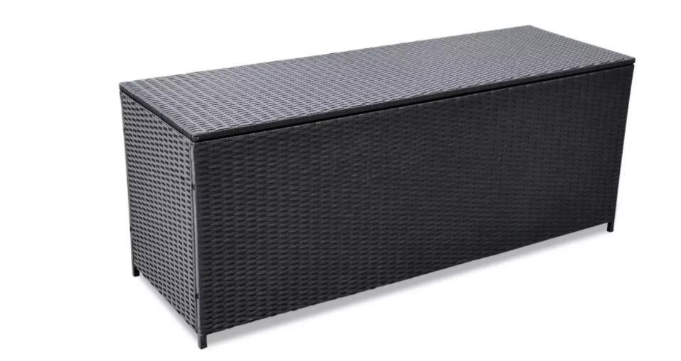 VidaXL Black Outdoor Storage Box Poly Rattan Suitable For Garden Can Double As A Bench 150x50x60 Cm Garden Chair