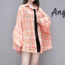 Qiukichonson Puff Sleeve Women Long Shirt 2019 Korean Fashion Plus Size 4XL Summer Sun-proof Plaid Blouses