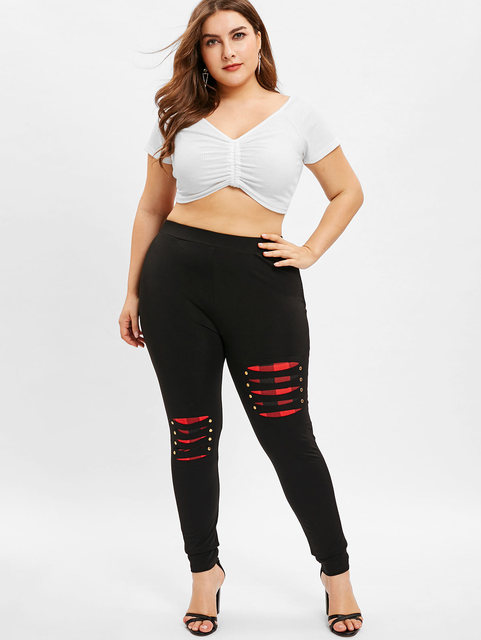 Wipalo Fashion Women Plus Size Ripped Elastic Waist Female Leggings