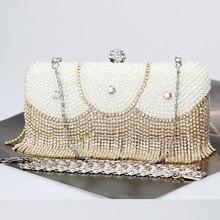 crossbody bags Clutch evening bags Tassels Banquet bag luxury handbags women Manual Beaded Evening Rhinestones evening bags. все цены