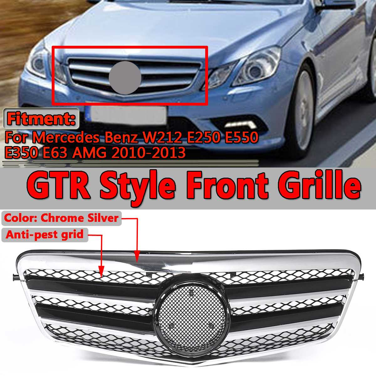 1x New For AMG Style Car Front Bumper Grill Grille For Mercedes For Benz W212 E250 E550 E350 E63 For AMG 2010 2013 Racing Grills