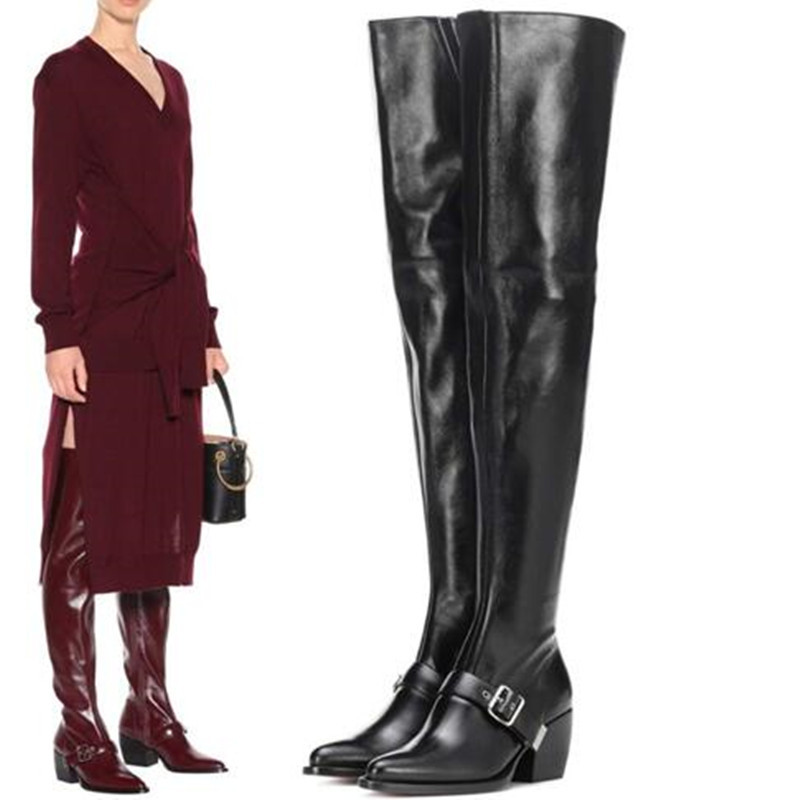 Big Size Women Shoes Wine Black Soft Leather Autumn Winter Women Shoes Chunky Heels Women Over The Knee High BootsBig Size Women Shoes Wine Black Soft Leather Autumn Winter Women Shoes Chunky Heels Women Over The Knee High Boots
