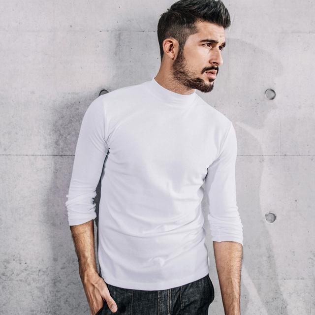 Men's Long Sleeve T-Shirts Cotton Black White Gray Color