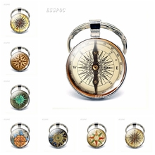 Hot Round Glass Cabochon Keychain Jewelry Steampunk Compass Pendant Key Ring Vintage Compass Pendant Vintage Compass Women Gifts round aluminum compass silver