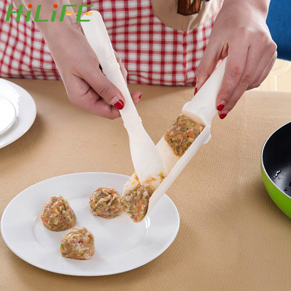 HILIFE Fish Shrimp Balls Meatloaf DIY Mould Meat Ball Maker Meatballs Mold Plastic Meat Shovel Kitchen Cooking Tools 1 Set image