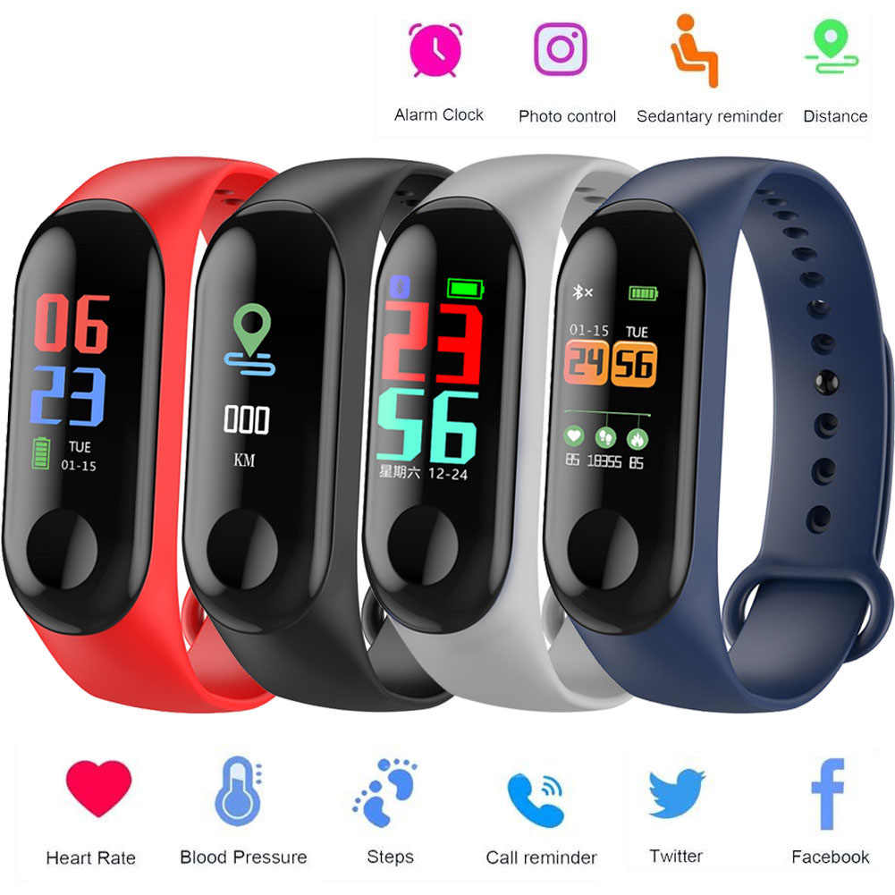 sport M3 Smart Band Heart Rate Blood Pressure Monitor Smartwatch Men Women Fitness Clock Message Call Reminder chasy muzhskiye