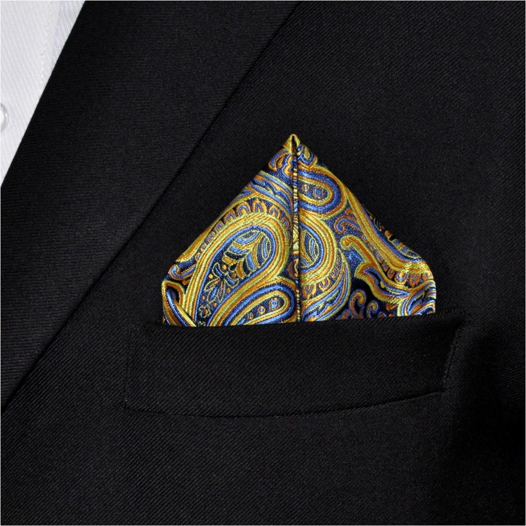 UH13 Paisley Yellow Mens Pocket Square Silk Jacquard Woven Brand New Fashion hanky 12.6