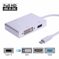 Mini 4 in 1 USB 3.1 Type C to HDMI+3.0 USB+DVI+VGA Adapter HUB Converter Cable USB3.0 Data Charger HUB Wire Support 4K 3840*2160