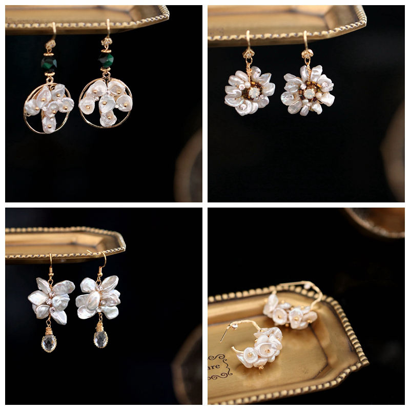 Eilepura Original Design Natural Fresh Water Baroque Pearl For Women Flower Shape Drop Earrings Fine Jewelry Boucles Femme in Earrings from Jewelry Accessories