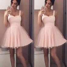 Новинка лета, женское вечернее Тюлевое платье на бретелях без рукавов, Короткое мини-платье, элегантное женское однотонное бальное платье, короткие платья