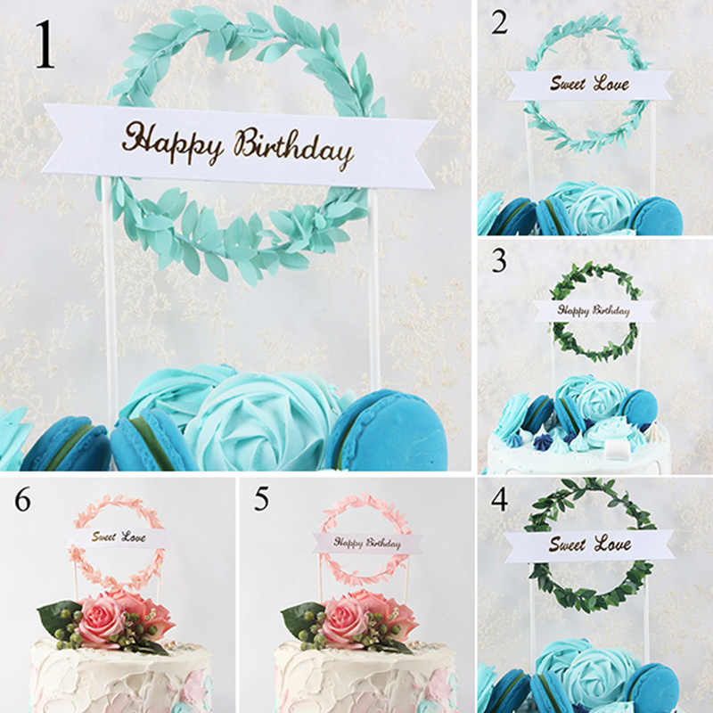 Happy Birthday Cake Topper Green Leaf Cupcake Toppers Baby Shower For Girls Cake Toppers For Wedding Party Cake Decoration