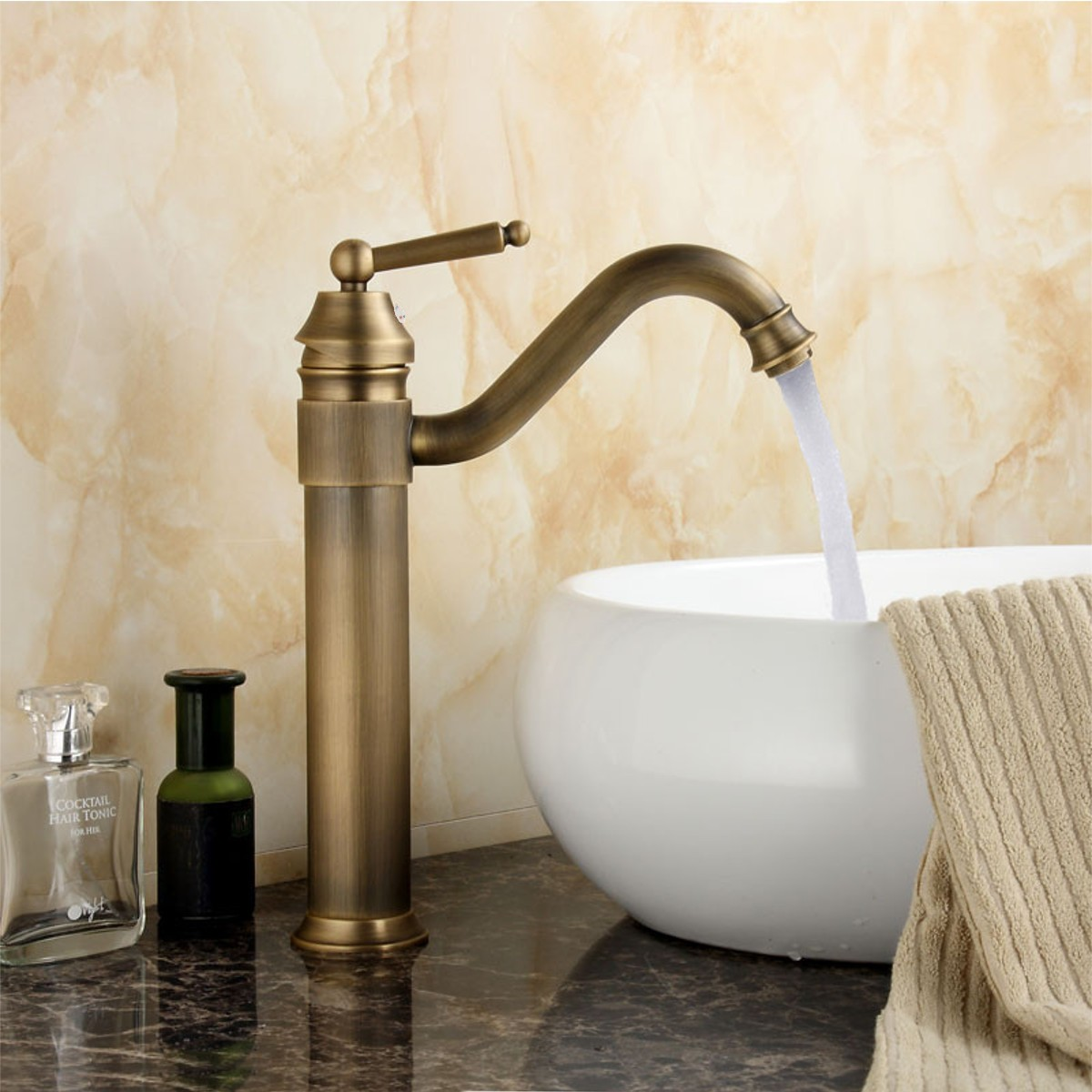 Antique Copper 360Rotatable Basin Sink Faucet Bathroom Cold And Hot Water Mixer Tap Single Handle Deck