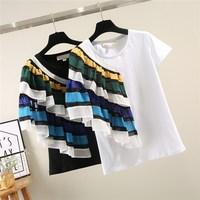 Women Fashion Stripe Patchwork T Shirt Casual Short Sleeve T Shirt Ruffles Female White Cotton T Shirt Top