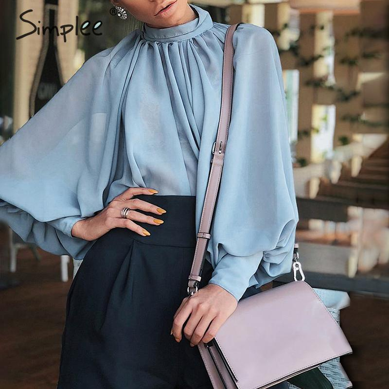 Simplee Elegant turtleneck women   blouse     shirt   Lantern sleeve transparent female top   shirt   Casual streetwear ladies   blouse     shirt