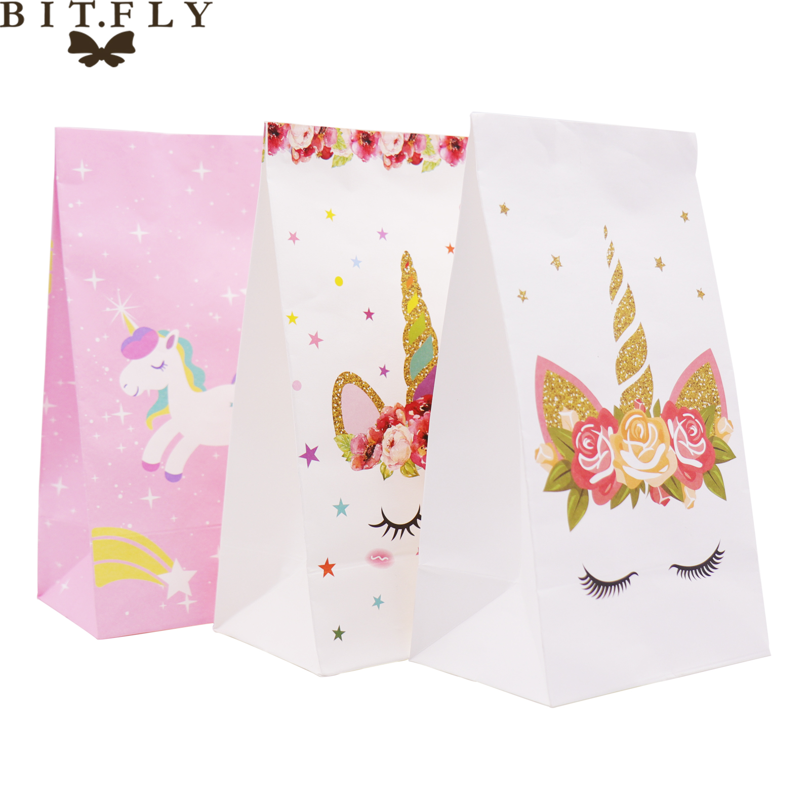 BIT.FLY Birthday Party Decoration Unicorn Kraft Paper Candy Bag Unicorn Party Kids Party Favor Snack Package Gift Bags Supplies