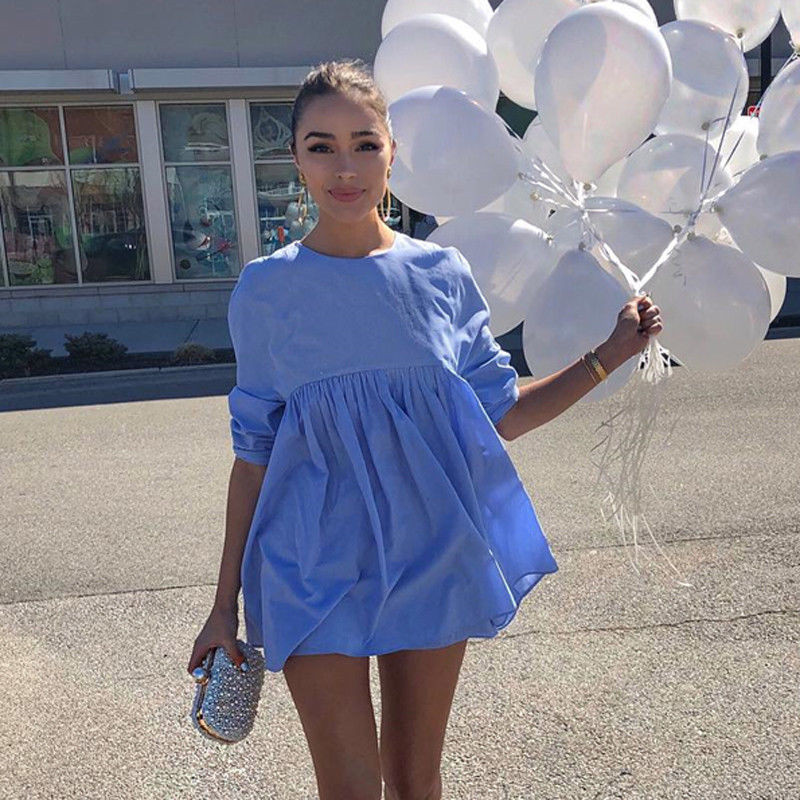 New Casual Sweet Summer Women Long Sleeve Shirt Elegant Party Blue Women Blouse Tops
