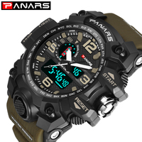 Panars Men's Watches Modern Digital Watch LED Analog Electronic Quartz Watches 50M Waterproof Sport Hand Watch Man With Compass