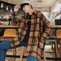 2018 Winter Coat, Thin Cloth, Loose Checked Long Sleeved Men Shirt Chinese Preppy Style Smart Casual The New Arrivals Listing