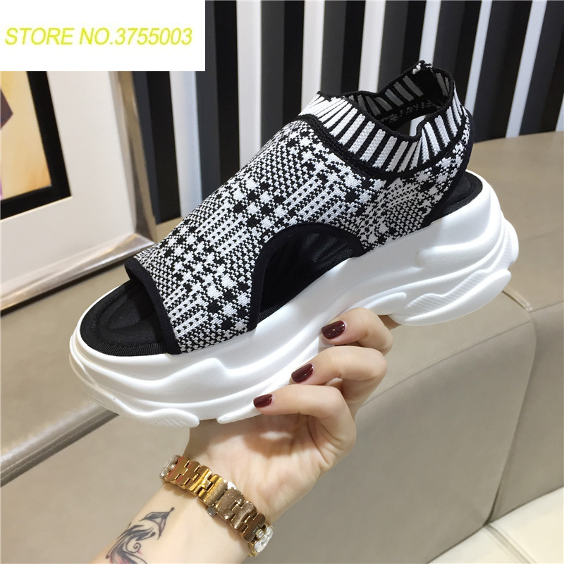 Luxe femmes chaussette sandales chaussures maille plate-forme chaussures cheville Wrap mode hauteur Incresing plage chaussures gladiateur sandales femmes 2018