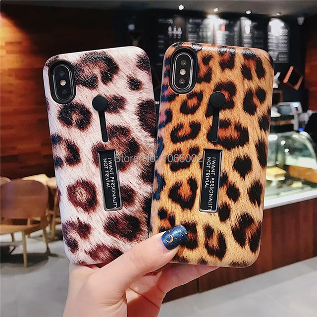 cheap for discount 23f8e c1589 US $2.99 |Cute Leopard Jaguar Paw Print Cases for iPhone XS Max XR XS X 7 8  Plus 6 6S Plus Finger Loop Strap Stand Coque Fundas -in Fitted Cases from  ...