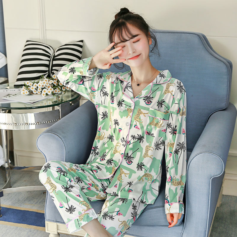 WAVMIT 2019 Spring Women Comfortable Cotton   Pajama     Set   Girl Print Pyjama   Set   Long Sleeve Sleepwear Suit Women Nightshirt   Sets