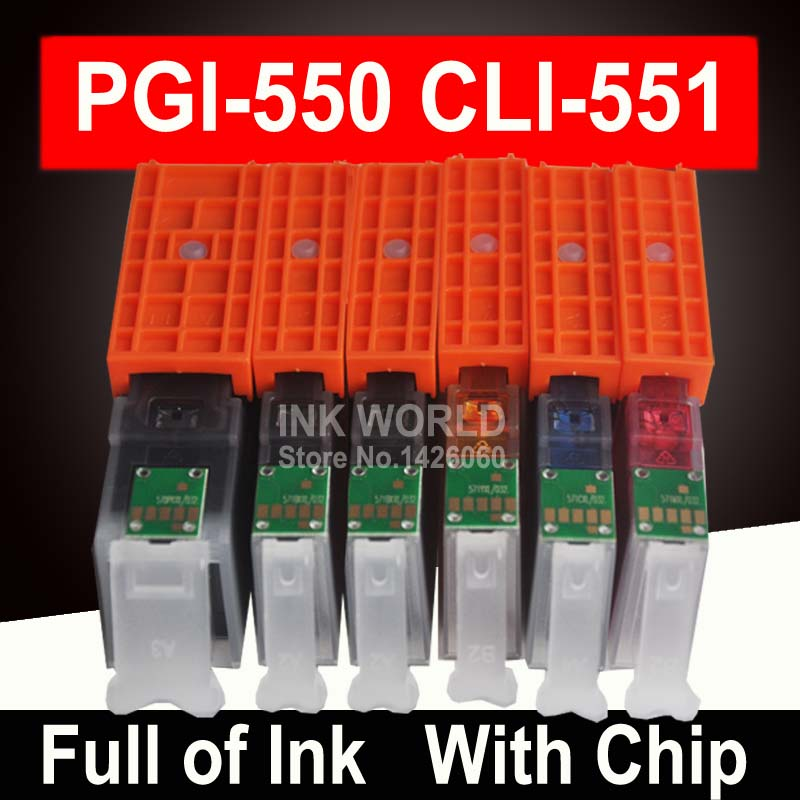 6 Color Compatible Ink Cartridges For Canon MG6350 MG7150 IP8750 Ip7250 Printer PGI-550 CLI 551 PGI550 CLI551