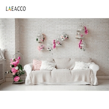 Laeacco Indoor Sofa Flower Light Wall Photography Backgrounds Customzied Photographic Backdrops For Photo Studio