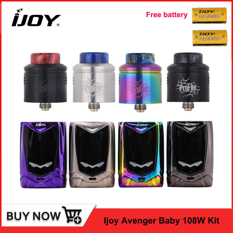 Original IJOY Avenger Baby Vape Kit 108W TC Box Mod + Profile RDA Tank 22mm dual 20350 battery AI Voice Control