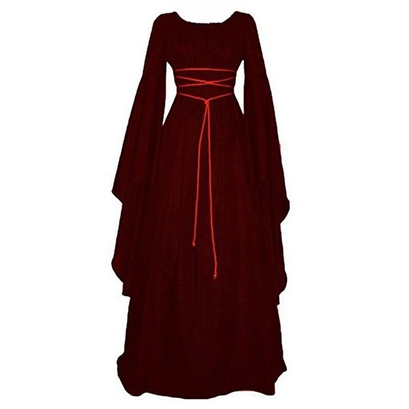 Women Medieval Victorian Long Sleeve Ball Gown Renaissance Gothic Maxi Dress