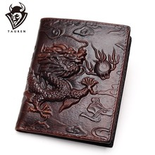 Chinese Dragon Wallet Vintage Genuine Leather Men's Wallets Brand Unique Design Pattern Male Folding Long Short Purse Cardholder(China)