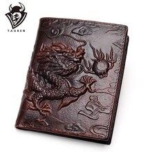 Chinese Dragon Wallet Vintage Genuine Leather Men's