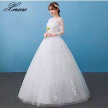 White Three Quarter Sleeve 2019 Style Fashion Lace Dress Elegant Princess