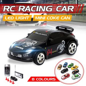 8 Colors Coke Can Mini RC Car Vehicle Radio Remote Control Micro kumandal araba 4 Frequencies For Kids Presents Gifts
