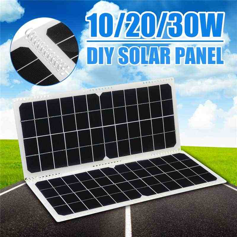 Solar Panel 12V 10/20/30W USB Monocrystalline Solar Panel with Connectors for Outdoor Camping Emergency Light Waterproof