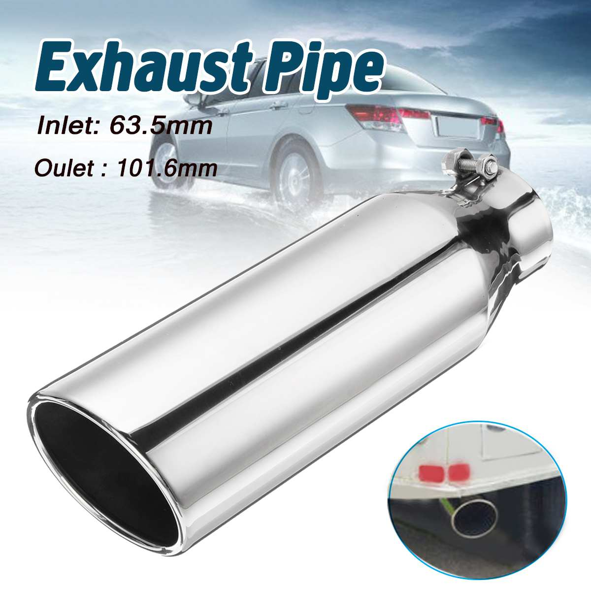 """2Pcs Polished SUS304 Weld On Angle Cut 3/"""" Inlet 4/"""" Outlet 5/"""" Long Exhaust Tip"""