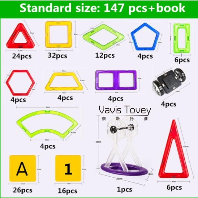 Vavis Tovey Standard Toy Kids Educational Toys ABS Plastic Creative Bricks Magnetic piece Gift Children