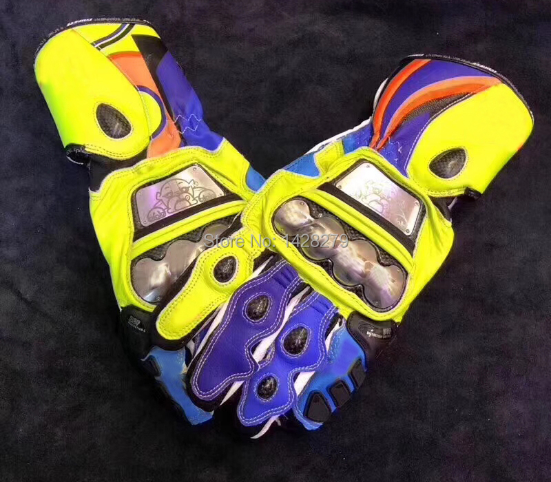 Nouveauté!! 2019 MOTO gants longs MOTO GP MOTO hommes cuir course Rossi bleu jaune gants