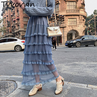 2019 Spring Summer New Lace Pleated Mesh Long Folds Skirt For Women Fashion Casual Female All match Bottoms E873