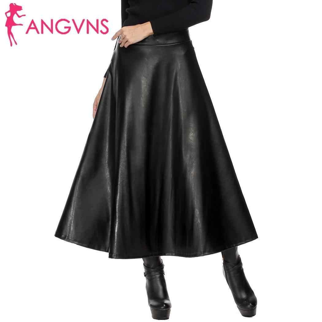 ANGVNS Women Vintage Slim Zipper Skirt Pleated High Waist Party Casual Hip Leather Women Swing High Skirt Spring Party Wear